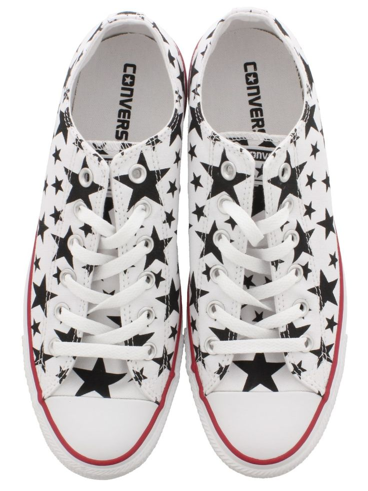 Converse Chuck Taylor All Star Black and White Stars Ox Trainers - Buy Online at Grindstore.com #converse #stars #summer