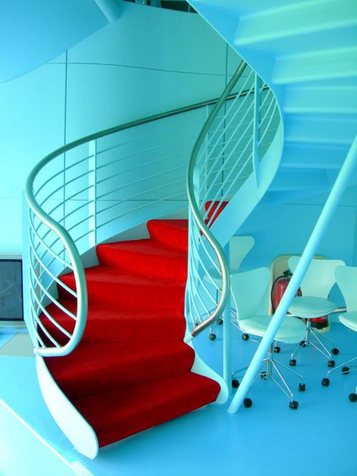 .Brilliant! Red staircase with teal bannisters. Keeping this idea for our forever house in case it has stairs!