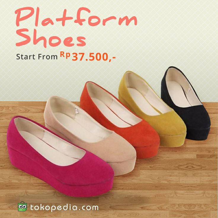 Sepatu platform, solusi nyaman dan cantik bagi kalian yang ingin terlihat tinggi namun tidak tahan memakai high heels karena ciri khas dari sepatu ini adalah solnya yang tebal dan rata. Yuuk beli ladies! Murah, harga mulai 37ribu. Silakan dicek dulu di http://www.tokopedia.com/hot/sepatu-platform via browser kalian.