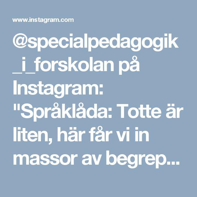 """@specialpedagogik_i_forskolan på Instagram: """"Språklåda: Totte är liten, här får vi in massor av begrepp tex. stor, liten, tom, full, mjuk, hård, varm, kall osv. Språklådor är ett sätt för oss pedagoger att variera innehållet men ändå ha samma struktur. Konkret material för att fånga intresse och få hjälp att hålla fokus/motivation. Barnen får hjälp att förstå innehållet och förstår man blir det också mer meningsfullt. Stimulerar barnens språk och ökar begreppsbildningen…"""