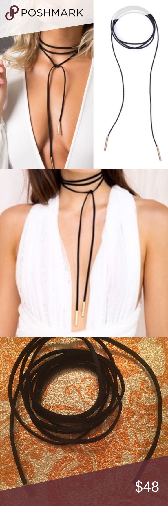 For Love and Lemons choker For Love and Lemons festival black leather choker with gold tips. Wear the necklace in a million ways! OR, headband, belt, anklet, bracelet!!! So versatile! 70 inches long. Brand new, never used. For Love And Lemons Jewelry Necklaces
