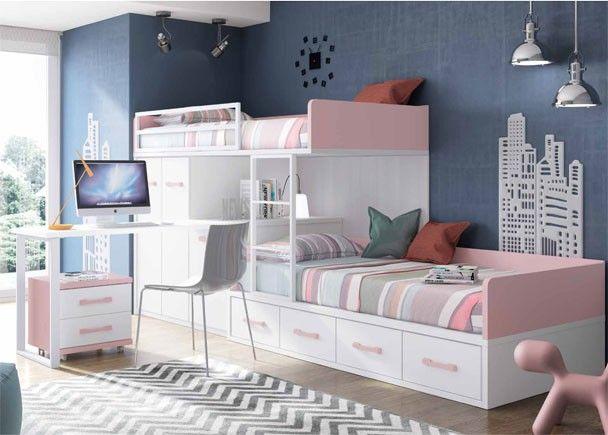 Habitación infantil con 2 camas tipo Tren