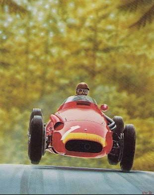 Juan Manuel Fangio driving a Maserati 250F in 1957 at Nurburgring by Kane Rogers (limited edition print of 300, number 173/300 sold at a Bonham's auction for 1,625 USD.)