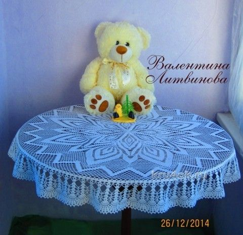 Round tablecloth - work Valentina Litvinova knitting and crochet scheme