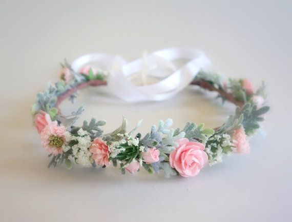 PINK FLOWER CROWN // Bridal Headdress // Photo Shoot Crown  Sweet and feminine…this lovely flower crown is made with handmade paper flowers, artificial Queen Anne's Lace & faux Dusty Miller foliage in a color palette of pink, sage green, and white. It is suitable for flower girls, brides or maternity photo shoots. You may choose between a white satin or crocheted ribbon for securing.  This crown measures approximately 20 and is adjustable.  This crown is also available in PEACH…