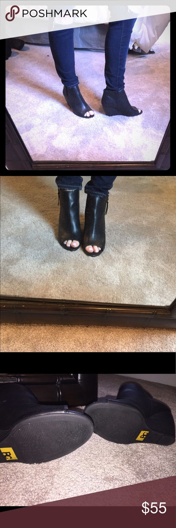 "Black leather peep toe wedge booties, size 8 Black leather peep toe wedge booties, size 8. Great condition! 3"" wedge bp Shoes Ankle Boots & Booties"