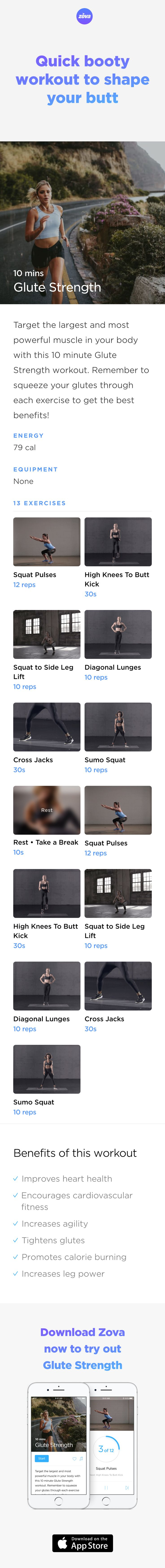 If you don't have much time but you want to firm and shape your booty, this quick and high intensity glute workout is you. You'll start to define your glute and leg muscles quickly in order to get a more athletic looking butt in under 10 minutes. Plus, you'll strengthen your pelvis too! #booty #butt #HIIT #workout #fitness #squat