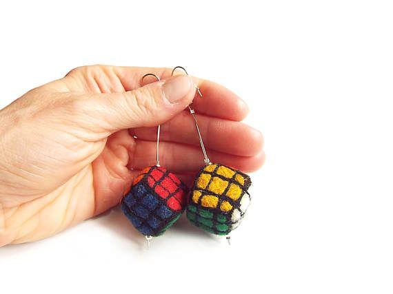 Felted earrings felt cube felt earrings multicolor cube