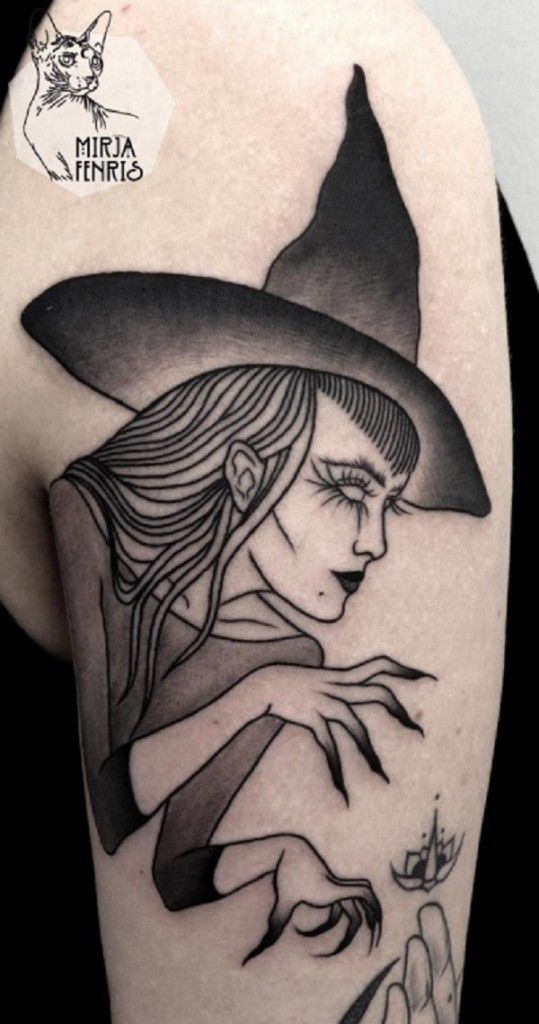 A scary witch in theme for a Halloween tattoo design. There's nothing like a perfect character ñor Halloween such as a witch that can readily cast spells on anyone.