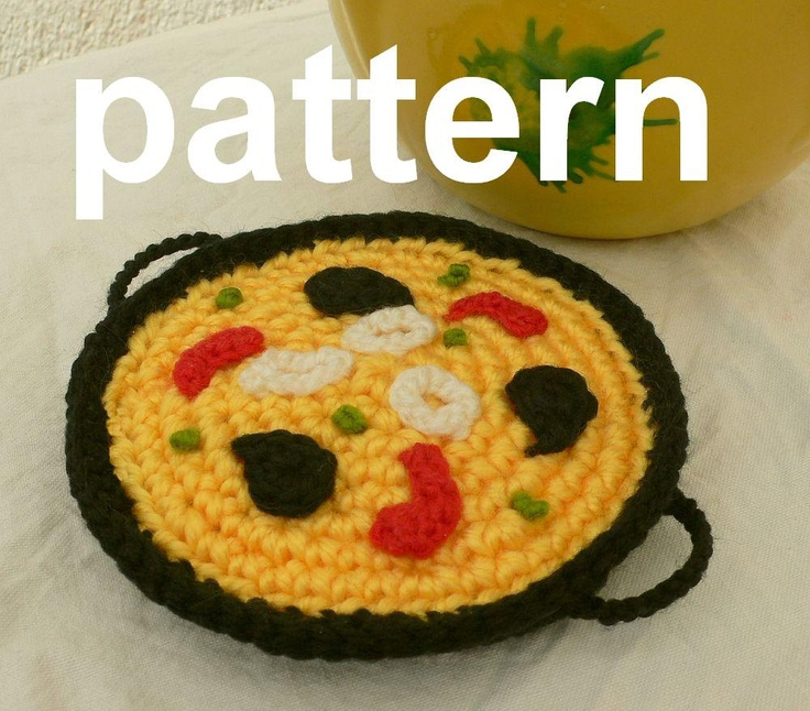 crocheted food - paella pattern in English, and Spanish with diagrams ...