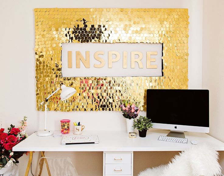 DIY Gold Sequins Wall Art Easy and affordable with a huge impact to the whole room!
