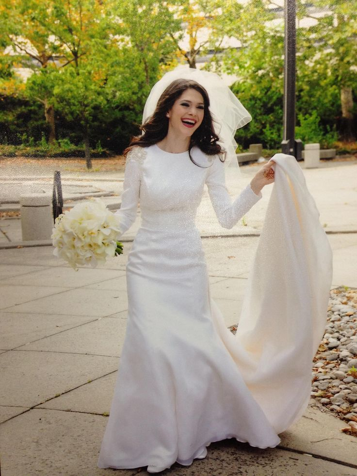 1000 images about satin silk solid non lace wedding for Modest elegant wedding dresses