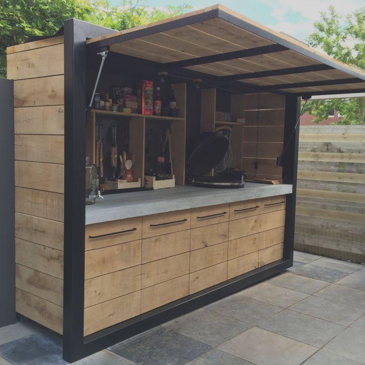 Trend Ideen Bar Bauen Outdoor-Küche Eichenholz Beton und Stahl ...
