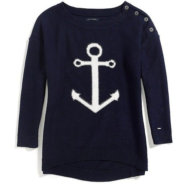 Tommy Hilfiger Anchor Scoop Neck Sweater (1,660 PHP) ❤ liked on Polyvore featuring tops, sweaters, tommy hilfiger, scoopneck top, scoop neck sweater, blue top and tommy hilfiger sweater