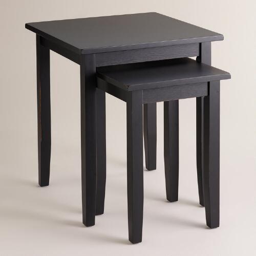 Antique black chloe nesting tables set of