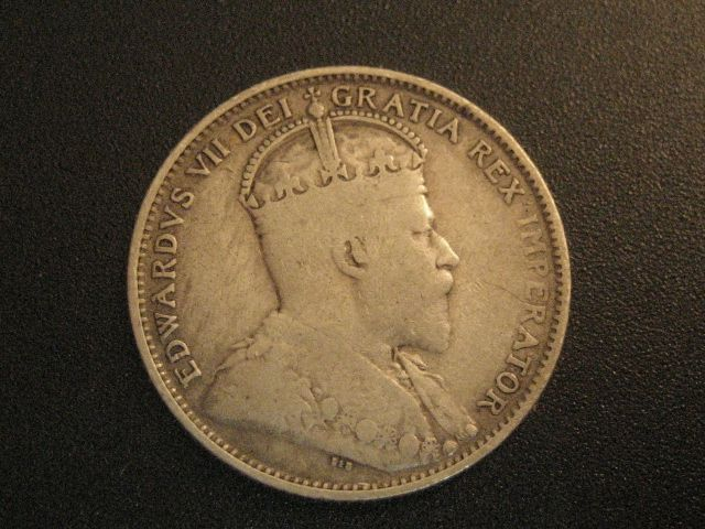 OBVERSE SIDE OF 1904-H NEWFOUNDLAND 20 CENTS PIECE