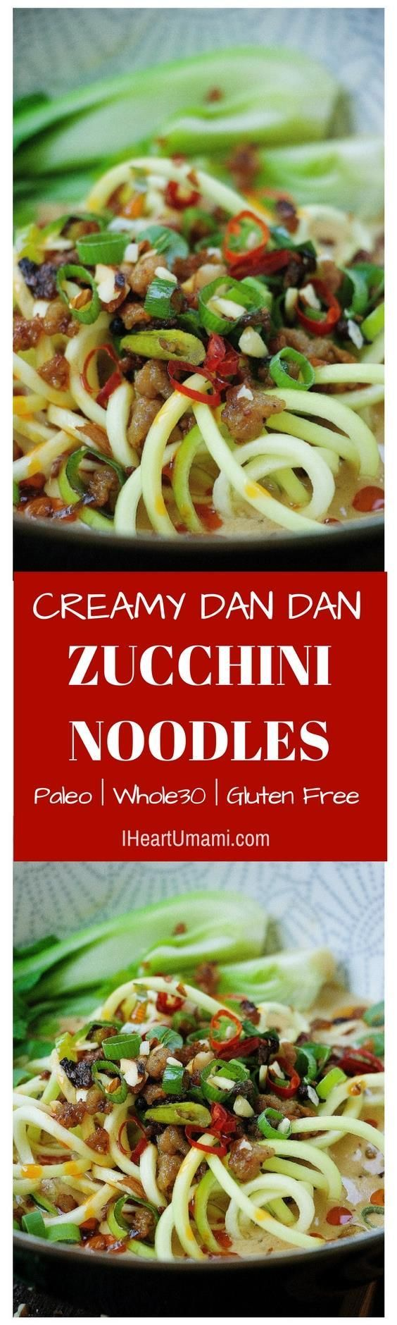 Easy and healthy Paleo Dan Dan Noodles in creamy sesame sauce with added crispy pork crumbles and  blanched bok choy vegetables to satisfy your cravings and keep your tummy happy and healthy. Follow the link to get creamy delicious noodle bowl ! IHeartUmami.com via @iheartumami