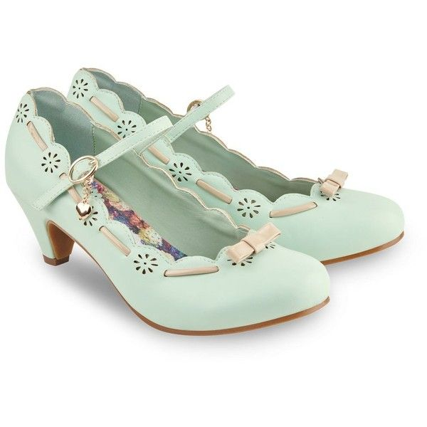 Joe Browns Pale green fifi's charming shoes (3,275 INR) ❤ liked on Polyvore featuring shoes, vintage shoes, blossom footwear, cut out shoes, joe browns and flower shoes