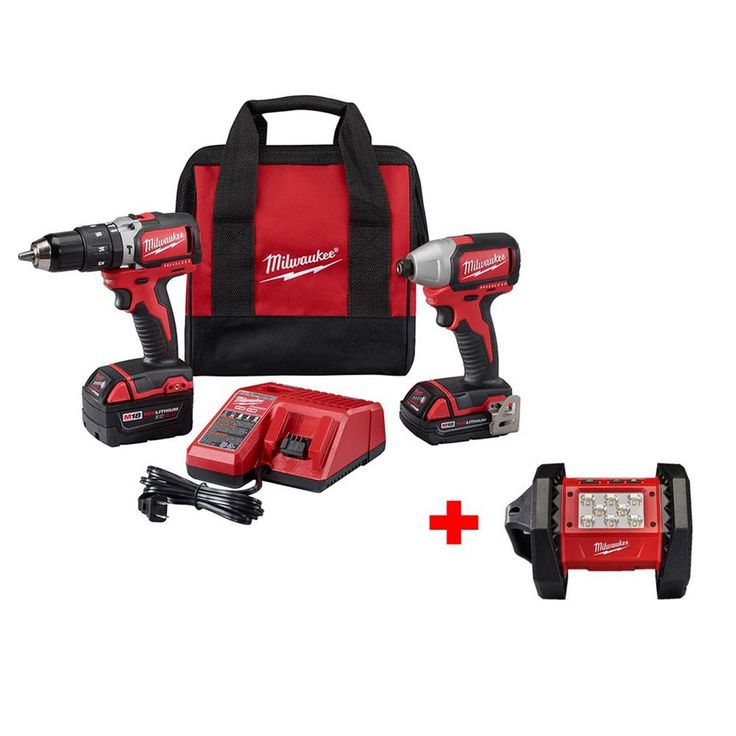 Milwaukee M18 18-Volt Lithium-Ion Cordless Compact Hammer Drill/Brushless Impact Combo Kit with 18-Volt Cordless LED Flood Light