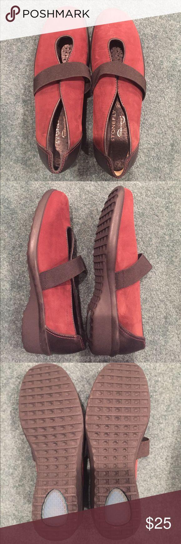 "NWOT Stonefly maroon suede shoes NWOT Stonefly maroon suede shoes. 1"" heel. EU 37. Never worn (see 3rd pic). Some scuffs in suede (see 4th pic). Stonefly Shoes Wedges"