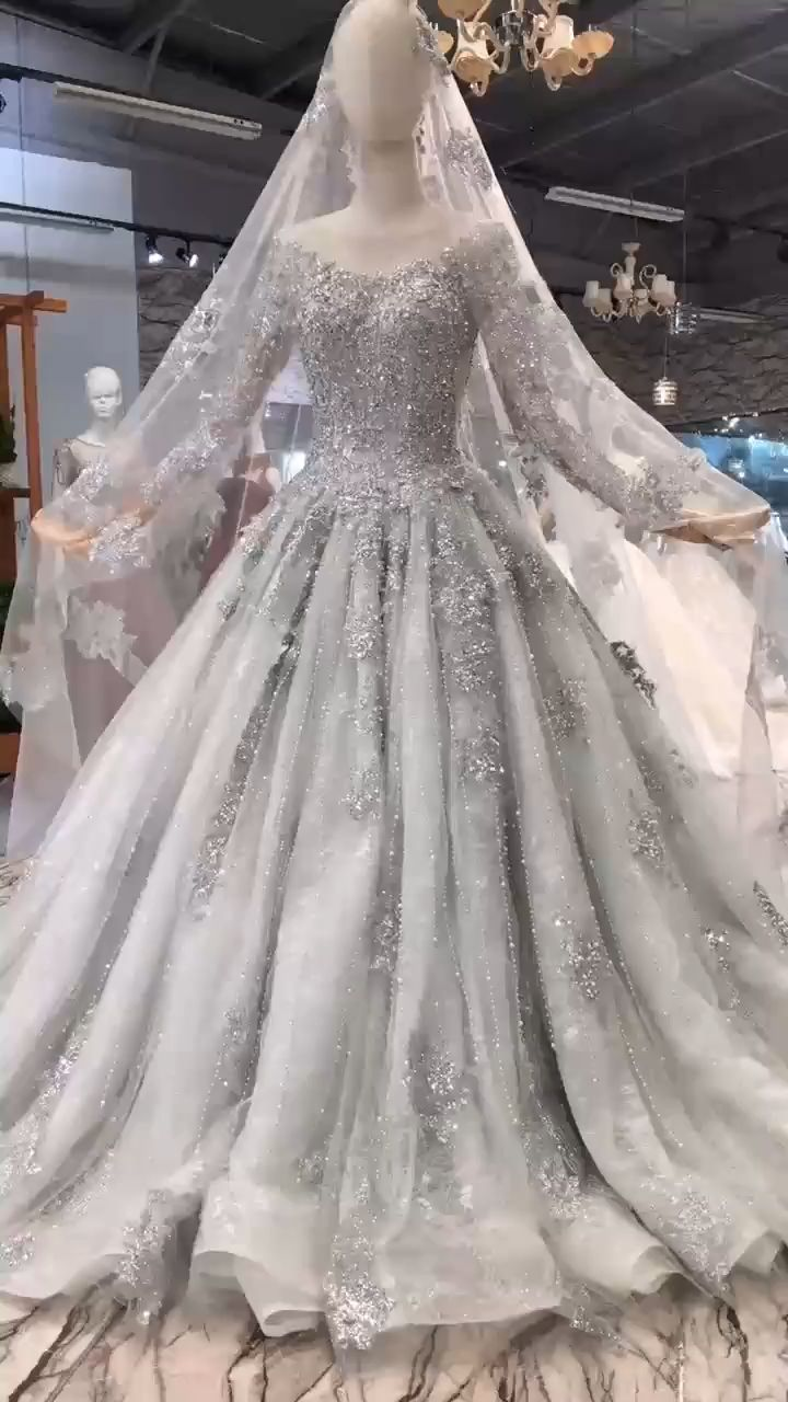 Luxury Grey Long Sleeve crystal beaded  Wedding Gown with Court Train