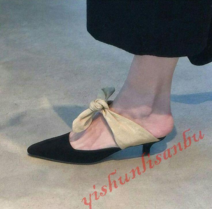 Women Kitten Heel Sheep Leather Pointy Toe Slingbacks Bowtie Pumps Catwalk Shoes