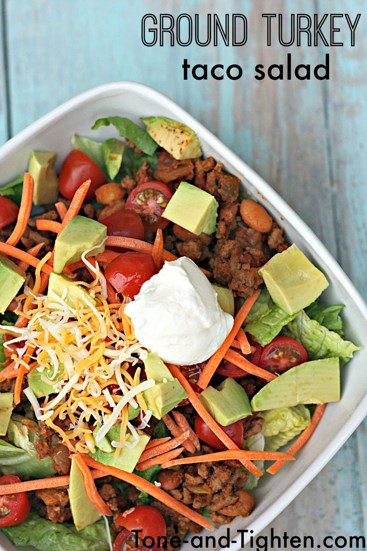Healthy Ground Turkey Taco Salad recipe on Tone-and-Tighten.com- perfect for a quick and healthy lunch or dinner!