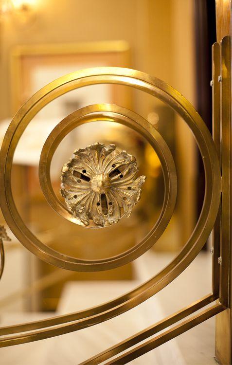 Brass handrail, detail