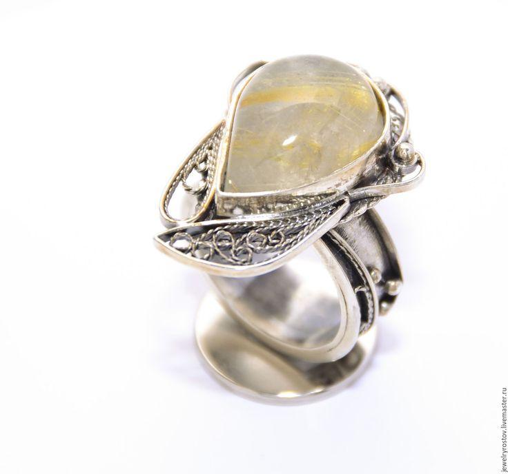 Купить Крупное кольцо с рутиловым кварцем, техника филигрань! - серебро ручной работы, серебро925