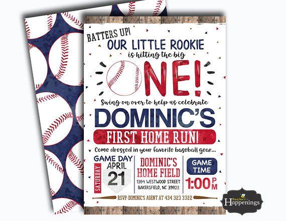 Baseball Birthday Invitation Rookie Of