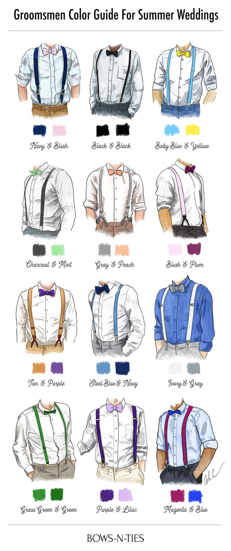 Groomsmen color guide for summer weddings. How to pair suspenders and bow ties
