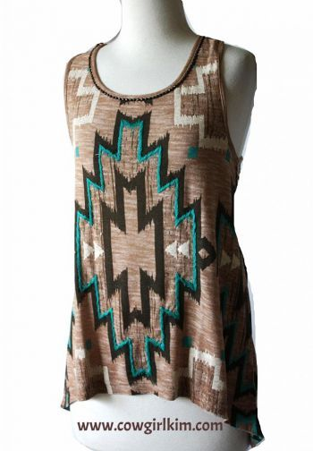 """Brands :: Double D Ranch :: DOUBLE D RANCH SPRING 2014 """" TWO ARROWS """" TANK TOP! - Native American Jewelry Ladies Western Wear Double D Ranch...http://www.cowgirlkim.com/cowgirl-brands/double-d-ranch/double-d-ranch-spring-2014-tesuque-tile-tank-top.html"""