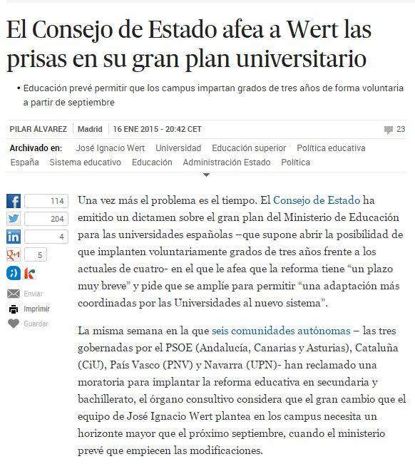 El Consejo de Estado afea a Wert las prisas en su gran plan universitario / @el_pais   #universidadencrisis