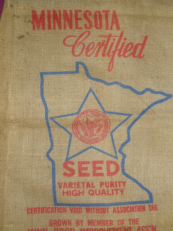 Burlap Sack Minnesota Certified Seed Map of State