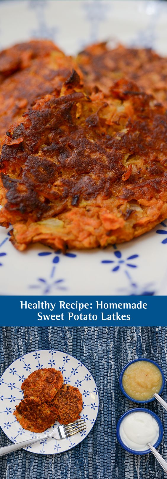Healthy Recipe: Homemade Sweet Potato Latkes. Whether you call them latkes or pancakes, these shredded potato patties are part of many holiday traditions. To put a healthy twist on a classic favorite, try using sweet potatoes. Full of potassium, fiber and vitamin A, sweet potatoes add a healthy boost while preserving that tasty flavor you've come to know and love.
