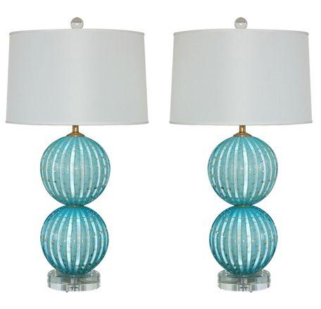 http://jamesmsweeney214.weebly.com/progress-lighting.html Murano glass lamps from Swank Lighting- love this for grey and aqua bedroom.  #home #lighting #decor #interiordesign