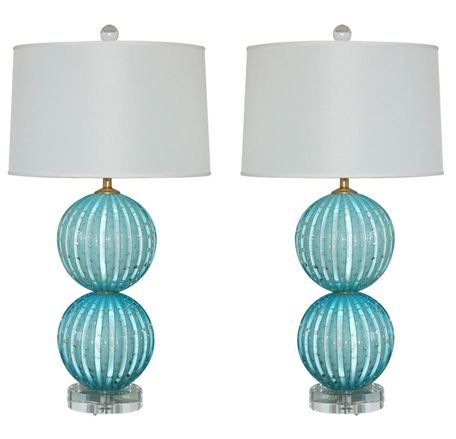 Murano glass lamps from Swank Lighting- love this for grey and aqua bedroom.