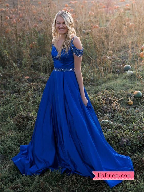 8aed639ca12 Satin Blue Ballgown Off Shoulder Prom Dress Beaded Straps Evening Gown