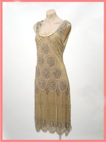 "$245.00 1920's Reproduction Gold Beaded ""Sheba"" Flapper Dress"