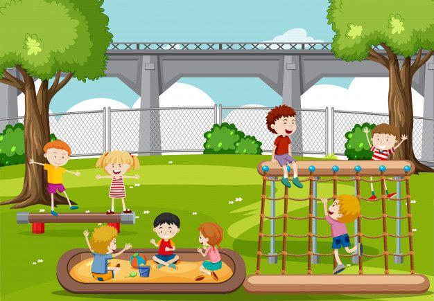 Ninos Jugando En El Parque Vector Gratuito Dibujo De Ninos Jugando Ninos Jugando Parque Dibujo