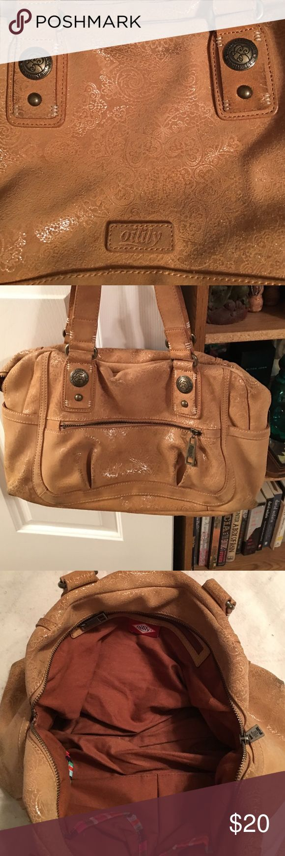 Oliily handbag This is a suede bag, it could use a cleaning but otherwise it's in great shape! Typical great product from a great company! Has inside zip pocket and 2 smaller pockets, key fob and a roomy interior. Oilily Bags Shoulder Bags