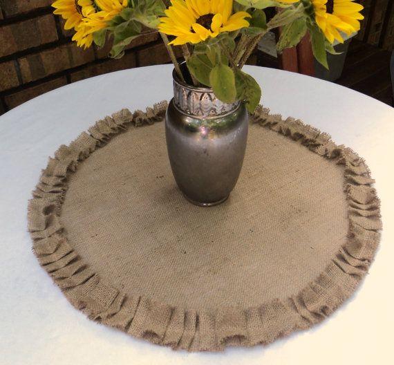 Round Burlap Table Centerpiece Burlap Table Topper with Ruffles Rustic Wedding Centerpiece