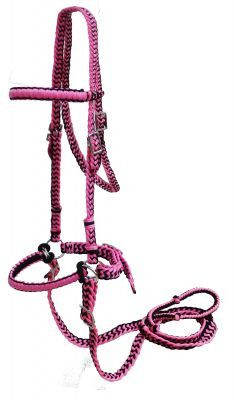 Pink Braided nylon bitless bridle with reins