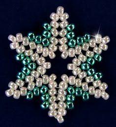 Sandra D Halpenny - Free Bead Patterns and Ideas : Snowflake #93 Ornament - Free Pattern