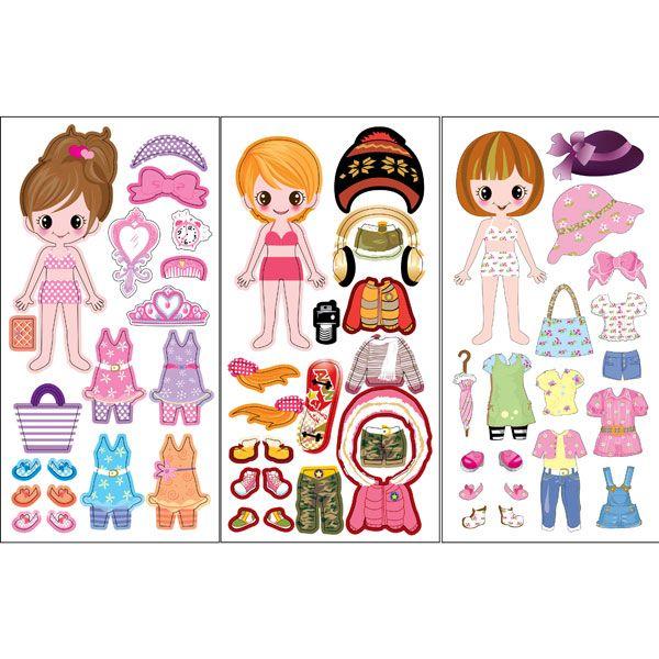 Aankleedstickers voor echte meisjes. Gemaakt van foam voor 3D effect.Verschillende meisjes en accessoires mogelijk, lekker zomers met zonnebrillen of met hoeden....echt girly stuff!