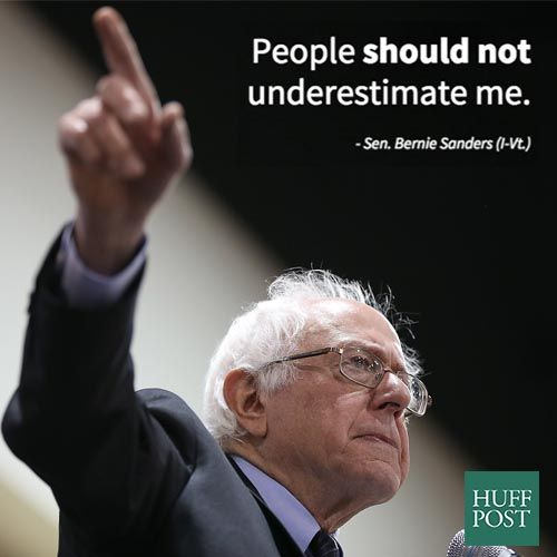 """huffpostpolitics:  Bernie Sanders Announces He Is Running For President In 2016Sen. Bernie Sanders (I-Vt.) announced on Wednesday that he'll run for president of the United States in 2016.""""I am running for president,"""" Sanders told The Associated Press. """"People should not underestimate me… I've run outside of the two-party system, defeating Democrats and Republicans, taking on big-money candidates and, you know, I think the message that has resonated in Vermont is a message that can resonate…"""