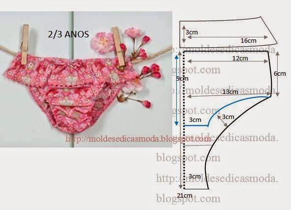 MODA E DICAS DE COSTURA: CUECA/CALCINHA DE CRIANÇA 2-3 ANOS