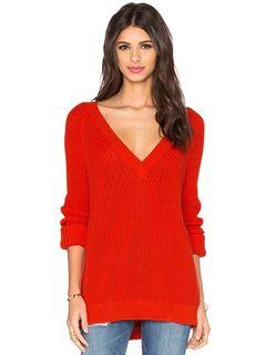Suéter de fibra acrílica rojo con cuello en V color liso con manga larga estilo moderno