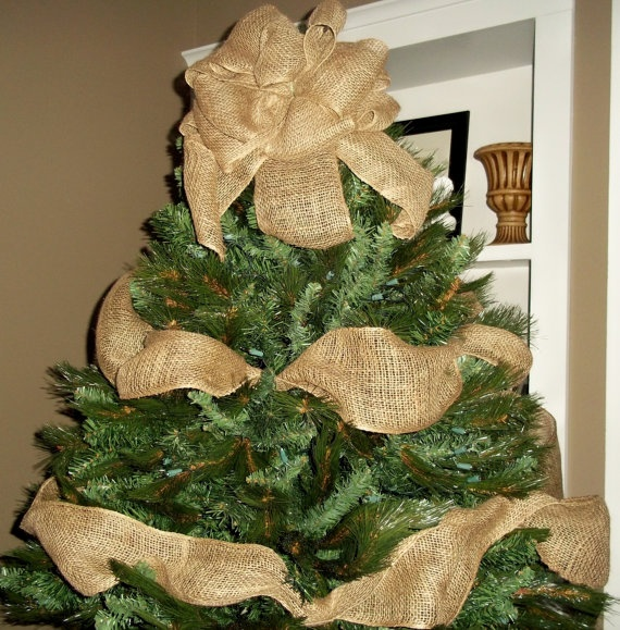 Burlap christmas tree topper bow with garland ribbon for Burlap ribbon on tree