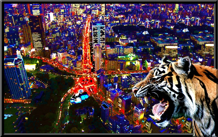 Tiger in the city is a great image for any home or office, order now on www.theartofrico.com